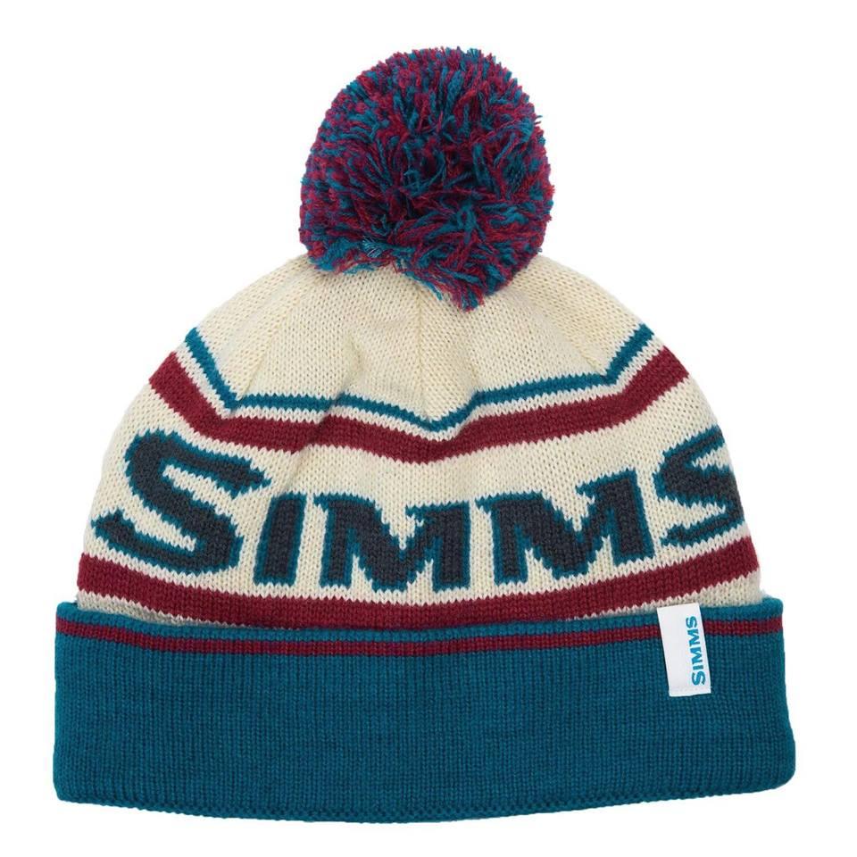 Hat Simms Fly Fishing Fleece Lined Pom Tassel Beanie Cap NEW! Lagoon Color